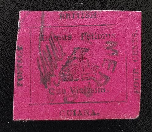 British Guiana #14 VF Used 1856 4c, thin, 1955 Stolow Cert US$25,000