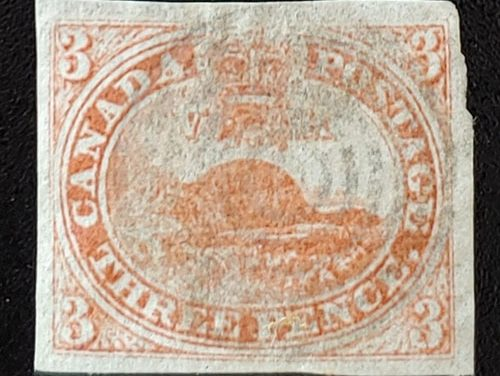 Canada #1a VF Used 1851 3d Laid Paper
