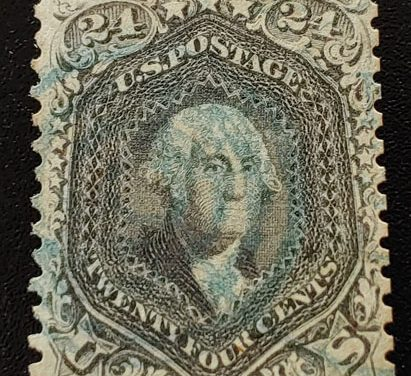 U.S.A. #78c F/VF Used 1862 24c Blackish Violet, reperfed