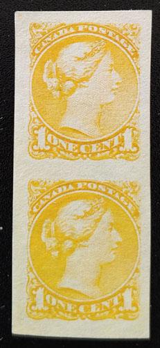 Canada #35b VF Unused 1c Small Queen Imperforate Pair $600