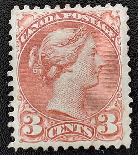 Canada #37b VF Mint 1870 3c Copper Red trifle album offset $2,000