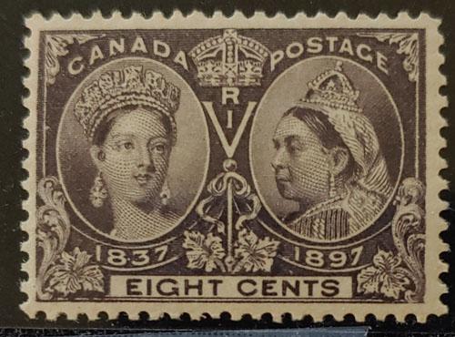 Canada #56 F/VF Never Hinged 1897 8c Jubilee
