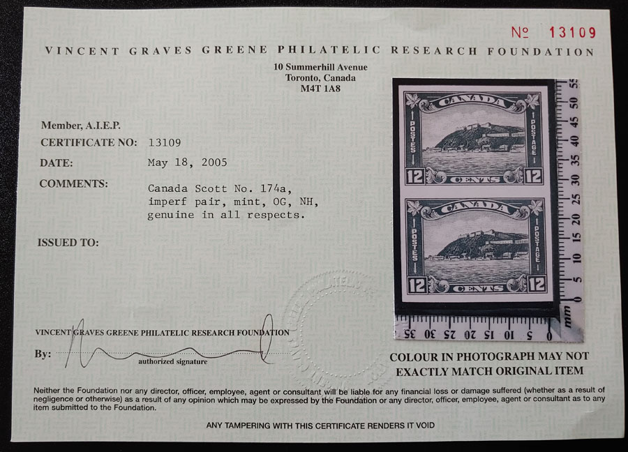 Canada #174a VFNH 1930 12c Quebec Imperforate Pair, glazed gum