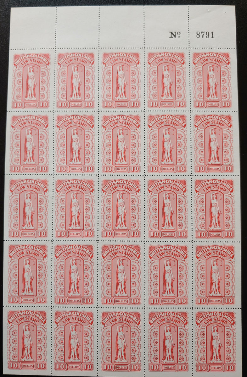 British Columbia #BCL57 VFNH Plate Sheet incl Flaw Above C $1625