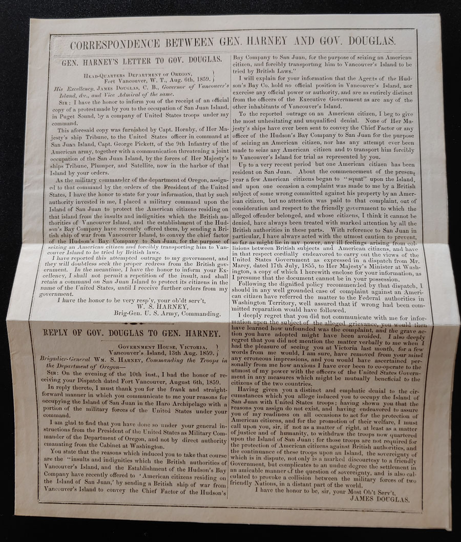 1859 Correspondence between Harney & Douglas Sht & 1872 cartoon