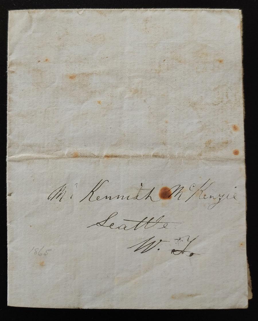 Alexander Mckenzie 1865 Victoria letter to Kenneth Mckenzie, Seattle