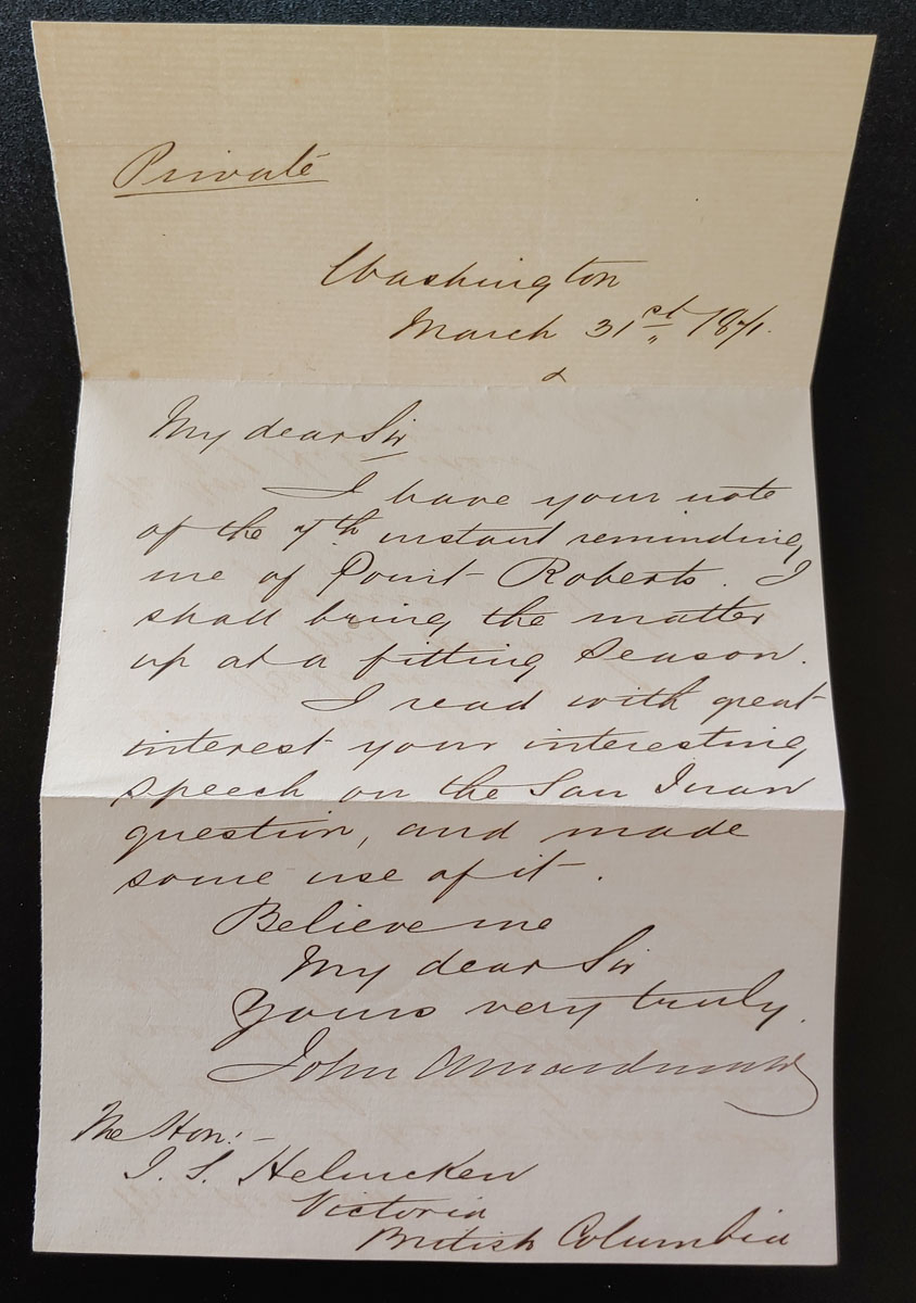 1871 John A. Macdonald Treaty of Washington Cvr & letter to Helmcken