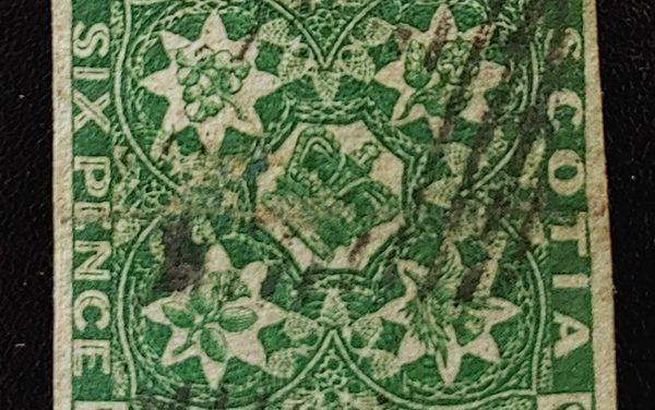 Nova Scotia #5 VF Used 1857 6d Dark Green, pencil on back