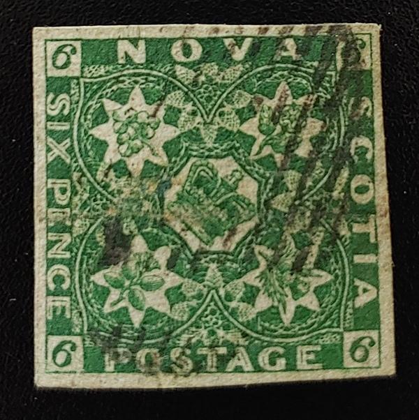 Nova Scotia #5 VF Used 1857 6d Dark Green, pencil on back $3,000