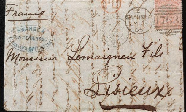 G.B. #43 26 Jy 1865 4d Plate 7 R.W. Perkins F.L.S. to France