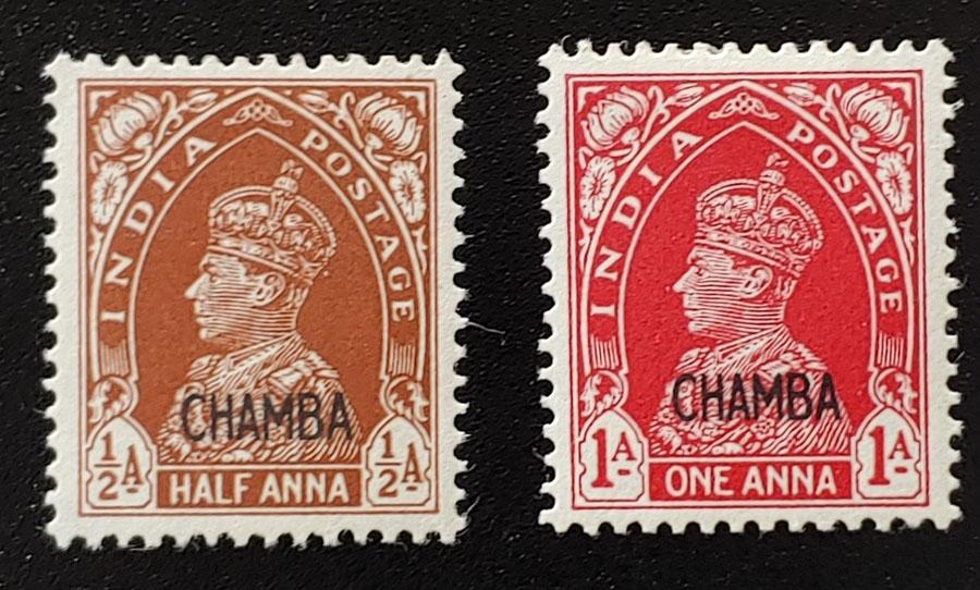 India/Chamba #87B, 88 F/VF Mint 1942 duo US$167