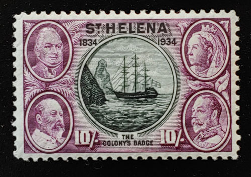 St. Helena #110 VF Mint 1934 1/- Badge of the Colony