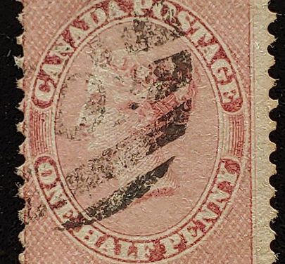 Canada #11 VG Used 1859 1/2d Rose Perforate Pence