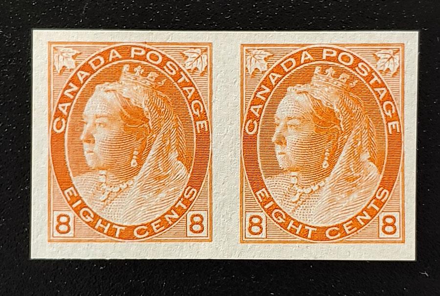 Canada #82ii VF Unused 1898 8c QV Numeral Imperforate Pair $900
