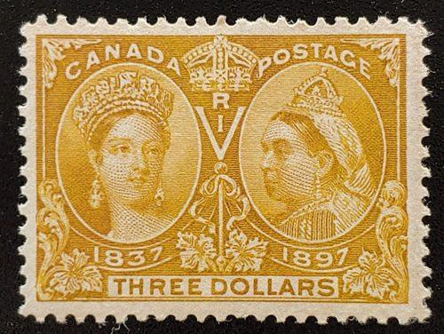 Canada #63 F/VF Unused 1897 $3 Jubilee, faint offset on back