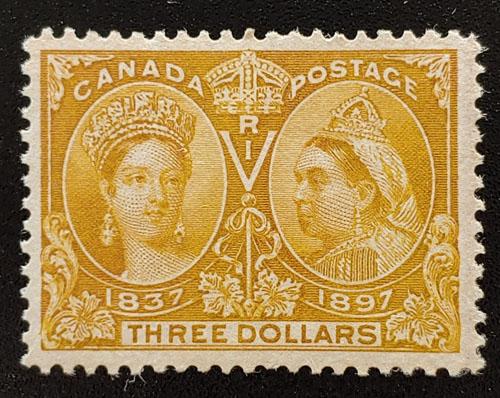 Canada #63 F/VF Unused 1897 $3 Jubilee, faint offset on back $1600
