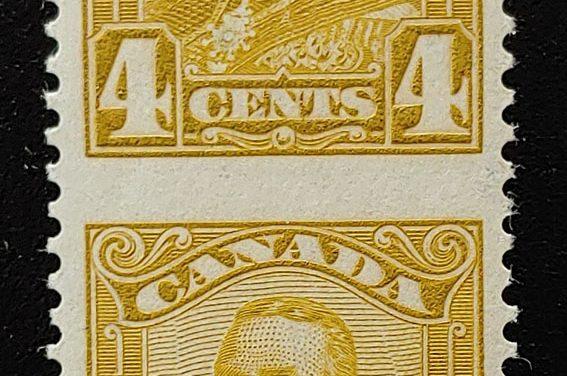 Canada #152c VFNH 1929 4c George V Perf by Imperf Pair