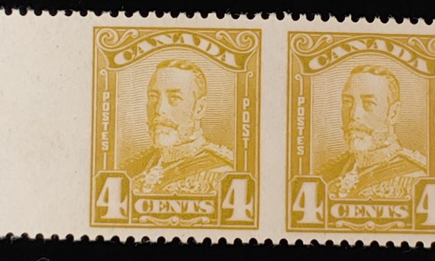 Canada #152b VF Mint 1929 4c George V Perf by Imperf Pair