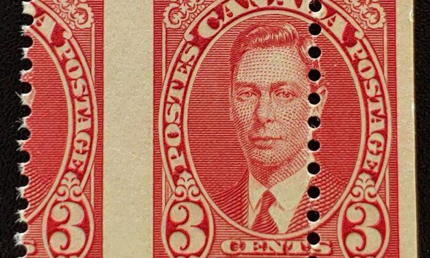 Canada #233MP Never Hinged 1937 3c George VI Misperf