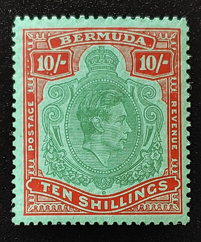 Bermuda #126 F/VF Mint 1951 George VI 10 Shillings