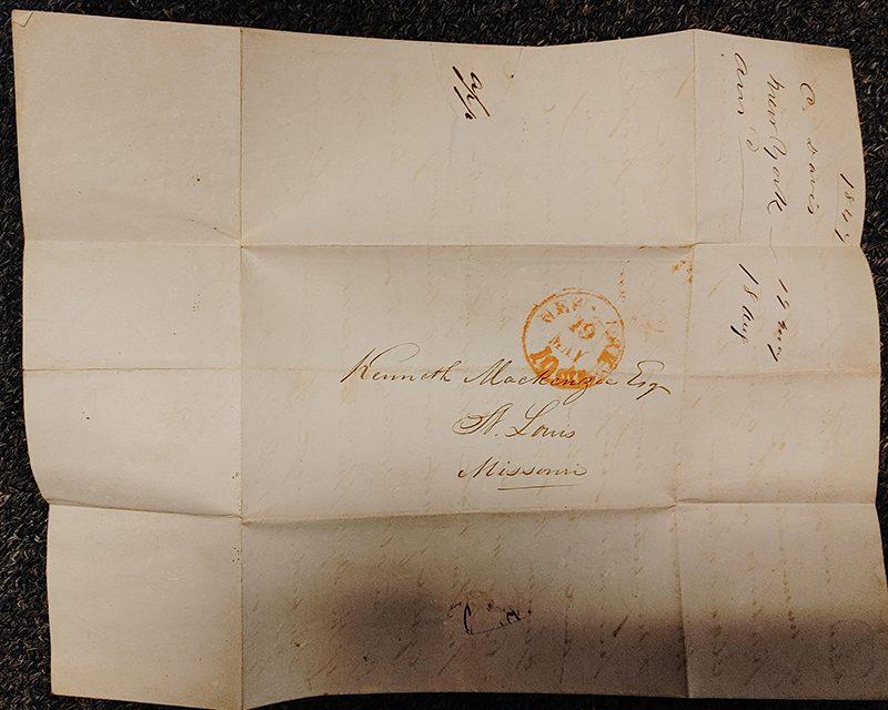 Kenneth Mackenzie 1847 Letter