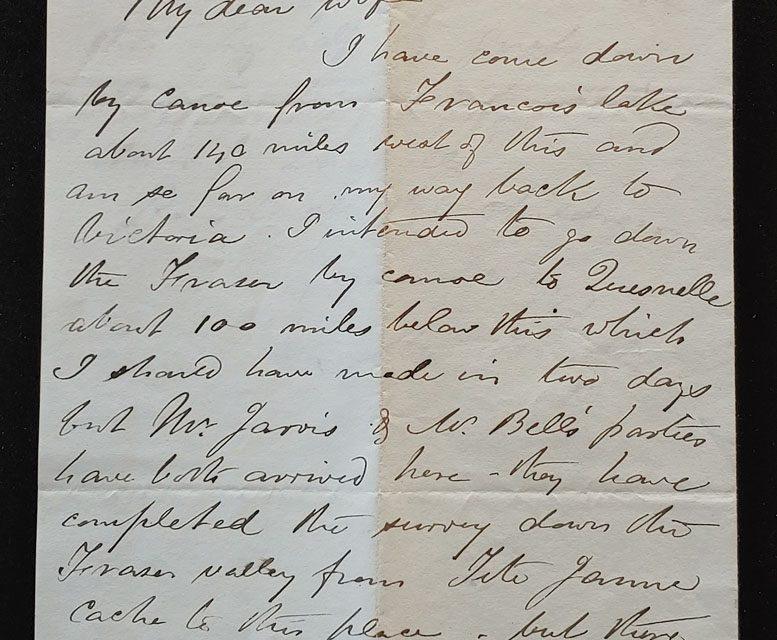 Marcus Smith Letter 7 Oct 1874 from  Fort George on the Upper Fraser