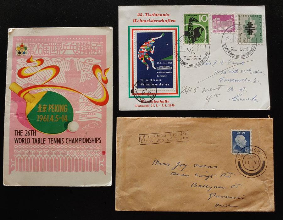 P.R. China etc 1957/61 Table Tennis Card & Cover trio incl Signatures