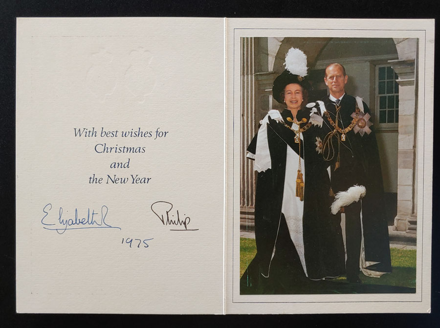 Queen Elizabeth II and Prince Philip signed 1975 Christmas Card