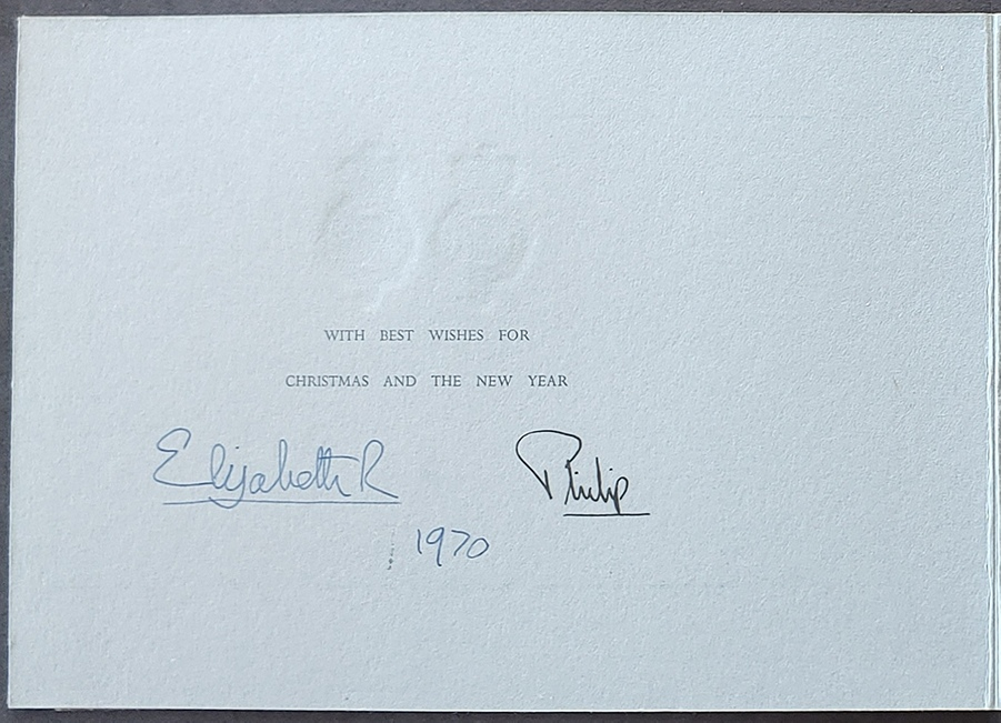 Queen Elizabeth II and Prince Philip signed 1970 Christmas Card