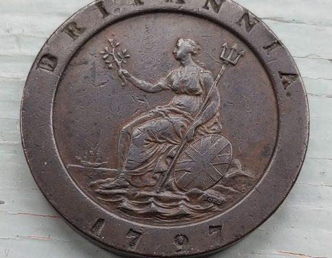 G.B. XF 1797 George III Cartwheel 2 Pence, edge test mark