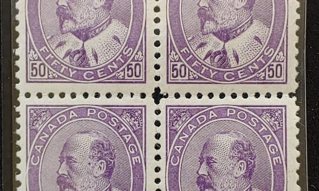 Canada #95 F/VF Mint 1908 50c Edward VII Block, two NH (4)