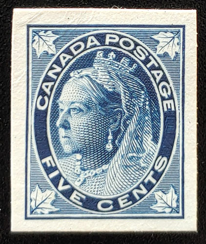 Canada #70P VF 1897 5c Queen Victoria Leaf Plate Proof $300