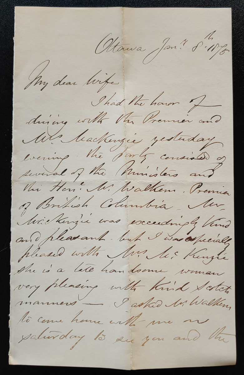 Ottawa Jan 8, 1875 Marcus Smith 2.5 page letter to his wife