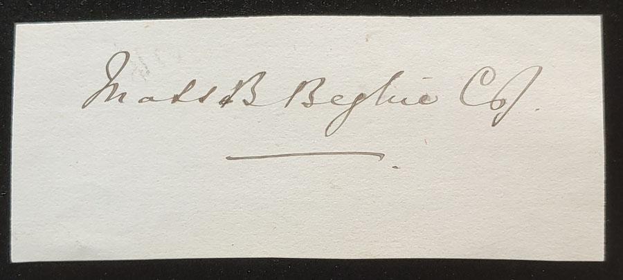 Matthew Baillie Begbie signature on piece
