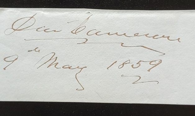 David Cameron 9 May 1859 signature on piece