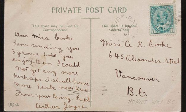 Heriot Bay, B.C. 13 Se 1907 1c Stanley Park Postcard