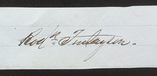 Roderick Finlayson Signature on piece