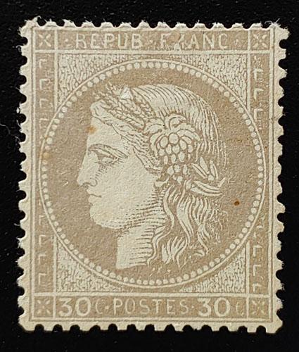 France #62 Mint 1872 30c, sml scrape, Buhler backstamp US$550