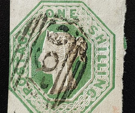 G.B. #5 Used 1847 1/- embossed Shade, hinge thin