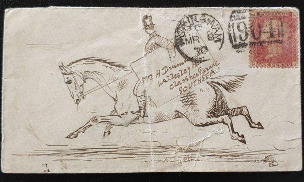 G.B. #33 plate 115 Wokingham/Southsea hand drawn Postrider Cover
