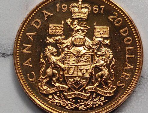 Canada BU 1967 single year type Gold 20 Dollars .5253oz AGW