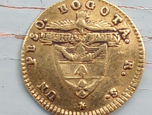 Colombia F/VF 1839 RS Gold Peso some doubling .0475oz AGW