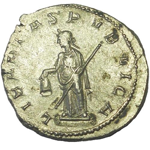 Trebonianus Gallus 251-253 AD 22mm 4.7gm Silver Antoninianus
