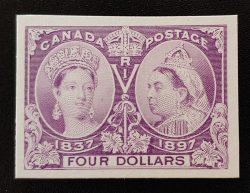 Canada #64P VF 1897 $4 Jubilee Plate Proof on card $800