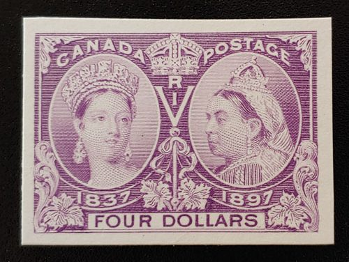 Canada #64P VF 1897 $4 Jubilee Plate Proof on card