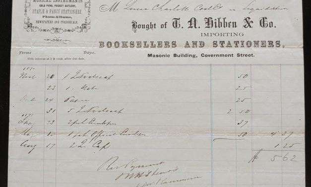 Victoria, V.I. 19 Au 1871 T.N. Hibben Bookseller invoice, ex Wellburn