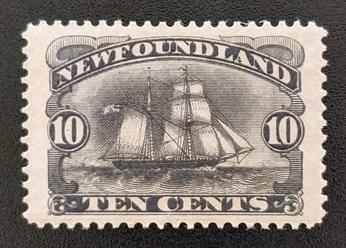 Newfoundland #59 VF Mint 1897 10c Schooner guideline at foot