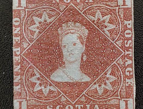 Nova Scotia #1 abt Fine Mint OG 1853 1d Red Brown