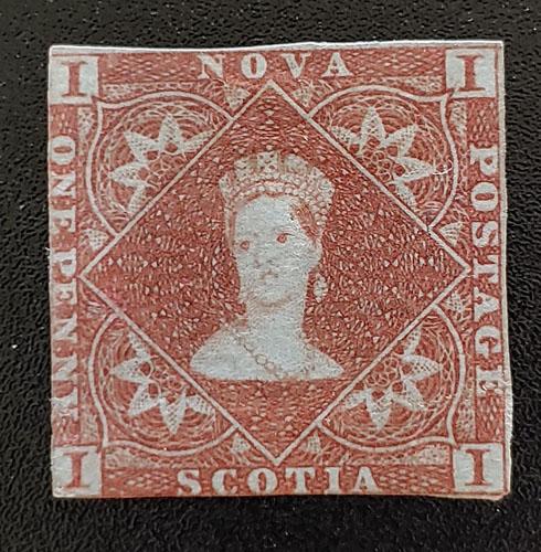Nova Scotia #1 abt Fine Mint OG 1853 1d Red Brown $3,000
