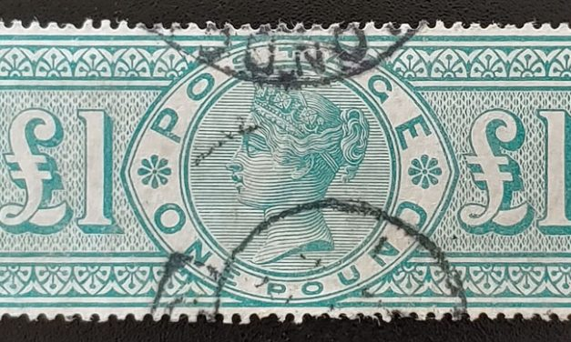 G.B. #124 F/VF Used 1891 Pound Green, corner crease